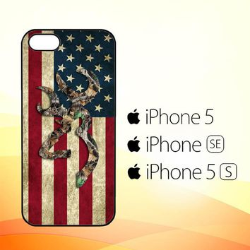 Browning Deer Real Tree Camo USA Flag L1395  iPhone 5|5S|SE Case