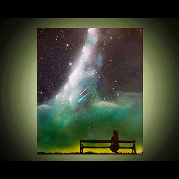 Space Art Starry Silhouette Art Night - Painting - Spray Paint Art - Landscape Original Painting - Stars and Clouds - Park Bench