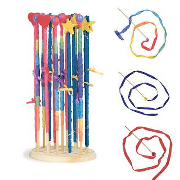 Waldorf Toy Streamers, Silk and Wood Toys, Wooden Wand With Shimmering Silk