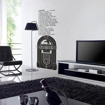 Jukebox & the music of our house playlist Large vinyl wall decal for your living room retro decor