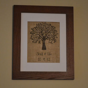 Heart Tree Burlap Print with Names and Wedding Date - Heart Tree - Carved Tree - Burlap Art - Sweetheart Tree - Personalized Burlap Print