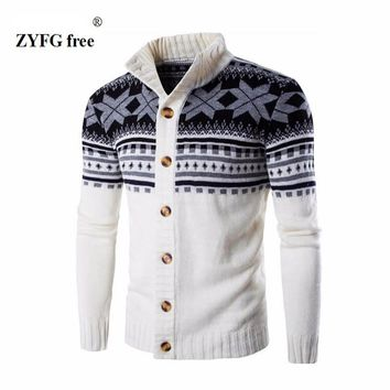 New style men's casual sweater fashion brand stand collar striped Slim knit men's sweater and national wind pullover