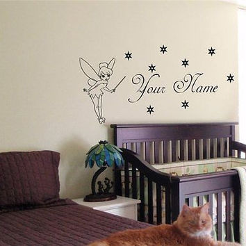 CUSTOM  PERSONALIZED BABY NAME TINKERBELL FAIRY WALL  STICKER BOY GIRL ROOM 08
