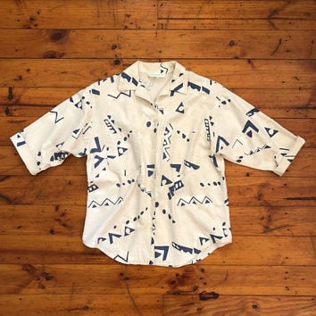 Vintage 1980s 'Claire's Wear' screen printed cream cotton shirt with all over new wave design in blue and white / Made in Australia