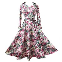 MapleClan Vintage Floral Three-Quarter Sleeve A-line Swing Dress