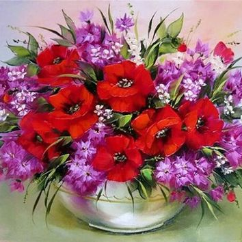 DIY diamond painting diamond embroidery red flowers decorative vase pictures of rhinestones hobbies and crafts home decoration