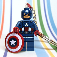 Captain America Key Chain made from NEW Superhero Lego by MoLGifts