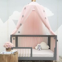 Hung Lace Baby Crib Tent Round Dome Bed Curtain Mosquito Net Kids Room Decoration(including the Crown)
