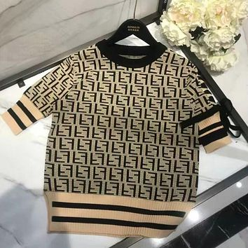 FENDI Classic Fashion Women Casual Full F Letter Pattern Short Sleeve Bowknot Knit Top Dress Black+Khaki I13375-1
