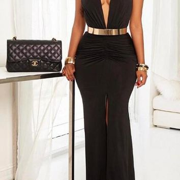 Black Pleated Slit Deep V-neck Mermaid Prom Evening Party Maxi Dress
