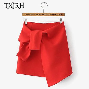 TXJRH Trendy Bow Tie Sashes Asymmetrical Skirt High Waist Slim Mini Short Irregular Skirt A-Line Vintage Women 2 Colors