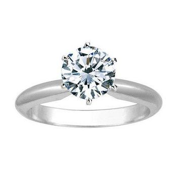 CERTIFIED | Near 1 Carat Carat Round Cut Diamond Solitaire Engagement Ring 14K White Gold 6 Prong (K, I1, 0.85 c.t.w) Ideal Cut (White)