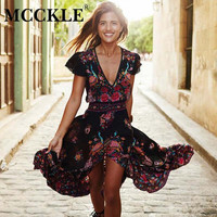 MCCKLE 2017 Women Summer V Neck Vintage Boho Long