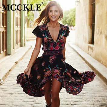 Summer Bohemia dresses sexy v neck short sleeve maxi dress ankle length print dresses fit and flare chiffon dress