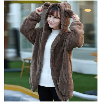 Women Hoodies Zipper Girl Winter Loose Fluffy Bear Ear Hoodie Hooded Jacket Warm Outerwear Coat cute sweatshirt