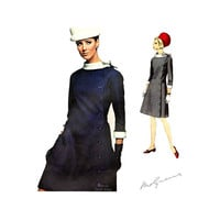 Molyneux 60s Coat Dress Pattern Vogue Paris Original 1629 One Piece Dress Size 18 Bust 38