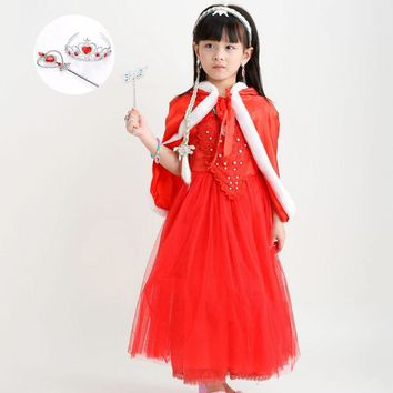 Light Blue Red Puffy Sleeve Pageant Birthdays Children Costume Cosplay Halloween Clothes Kids Girls Christmas Dress Outfit Set