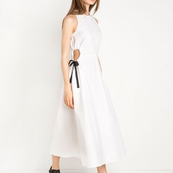 White Waist Cut Out Midi Dress