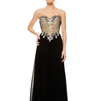 JOHNATHAN KAYNE 6000 Sweetheart Beaded Chiffon Corset-Back Prom Evening Dress