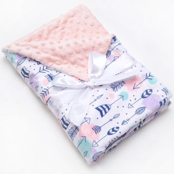 Muslinlife Europe Fashion Style Soft Flannel Baby Throw Blanket Baby Fleece Blanket Minky Dot Kids Blanket Wrap 70*100cm