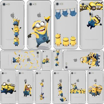 Happy Yellow Minions Clear iPhone Cases Designs X 8 7 6 5 s se Plus