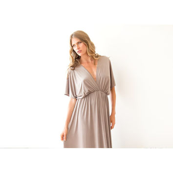 Taupe/Grey formal maxi gown batwing sleeves