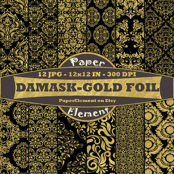Black and Gold Damask Digital Paper Pack - Metallic Gold Foil Scrapbook Paper for Weddings, Anniversaries, Formal Events - Instant Download