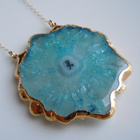 Aqua Blue Stalactite Necklace Large Size by 443Jewelry on Etsy