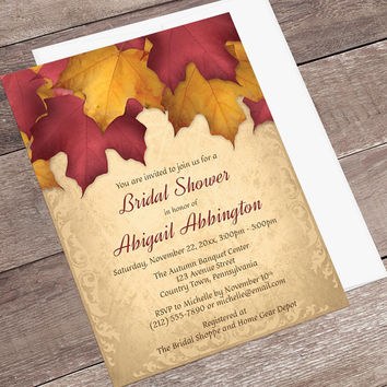 Burgundy Gold Autumn Bridal Shower Invitations - Rustic Fall Bridal Shower Invitations, Rustic Leaves on Gold - Printed Fall Invitations