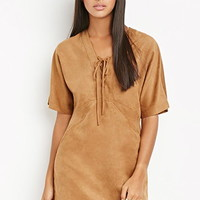 Faux Suede Lace-Up Dress