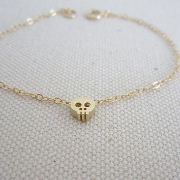Tiny Skull Gold Filled Bracelet. Small Gold Skull Charm Bracelet. Cute Gold Filled Jewelry for Teen Girls. Daughters. Friendship Gift.