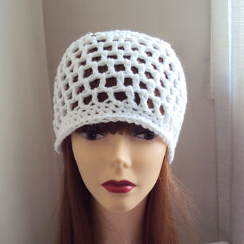 Crochet Hat  Spring Summer Beanie White Festival Hat Bridal Hat Women Men Hair Accessories Mother's Day Gift
