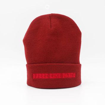 I Feel Like Pablo The Life Of Pablo Kanye West Warm Winter Knitted Beanie Mens & Womens Ski Cap Casual Outdoor Red Cuffed Skully Hat