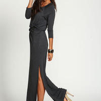 Charcoal Knotted Slit Jersey Maxi Dress