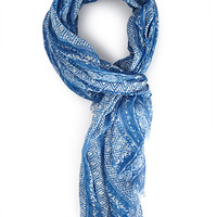 FOREVER 21 Mosaic Print Scarf Blue/White One