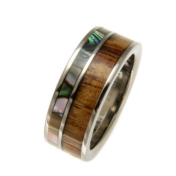 GENUINE INLAY HAWAIIAN KOA WOOD ABALONE WEDDING BAND RING TITANIUM 8MM SIZE 8-12