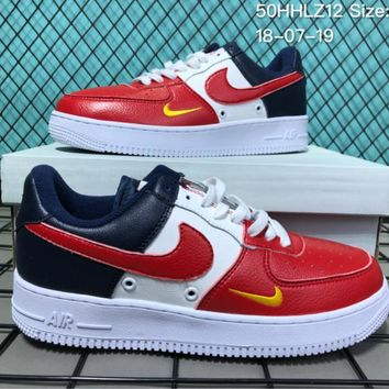 KUYOU N018 Nike Air Force 1 Mid Three-Color Stitching Small Hook Causal Skate Shoes Re