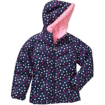 Faded Glory Girls' Bubble Jacket blue with dots, M 7-8