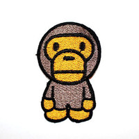 Bathing ape baby milo Brown Monkey Hoodie T-Shirt Jeans Jacket Cap Iron on patch