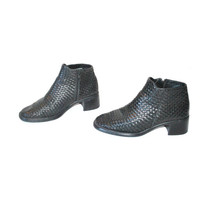 size 8 WOVEN ankle boots / 90s CHUNKY heel black leather booties