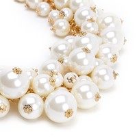 Fashion Gold Tone Chain Lots White Simulated Pearl Beads Cluster Choker Necklace