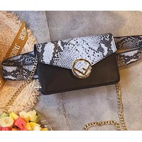 FENDI Popular Women Personality Snake Skin Texture Leather Waist Bag Pockets Bag Black I-WXZ2H