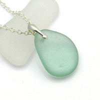 Aqua Sea Glass Pendant Necklace ASHLIE