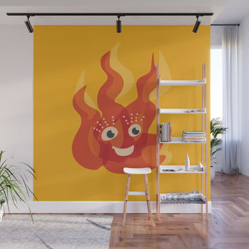 Happy Burning Cartoon Fire Wall Mural by borianagiormova
