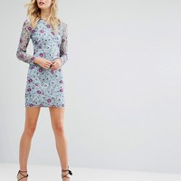 Frock And Frill Tall Allover Premium Embroidered Sequin Pencil Dress at asos.com