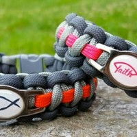 Christian Ichthys Fish Orange or Pink Thinline Paracord Survival Band