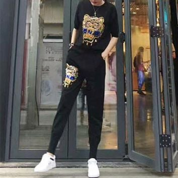 LMFONS Kenzo' Women Casual Fashion Knit  Letter Tiger Head Embroidery Middle Sleeve Trousers Set Two-Piece Sportswear
