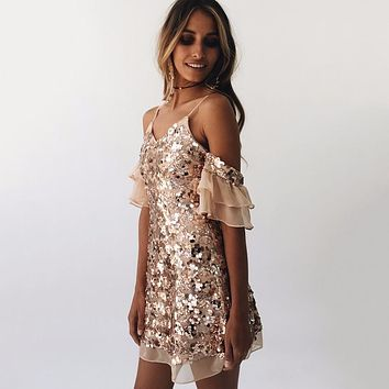 Summer Fashion Hollow Sequin Embroidery Strap Short Sleeve Mini Dress