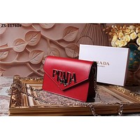 PRADA WOMEN'S LEATHER INCLINED CHAIN SHOULDER BAG