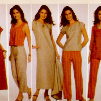Easy Sew Shift Dress Crop Top Pants Jackets Vests Pattern Misses Separates Simplicity 5070 Sewing Patterns Plus Size 20 22 26 28 Uncut